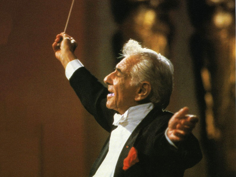 Leonard Bernstein holds up a baton, conducting. He's wearing a black tuxedo, red pocket square, red brooch, paired with a white shirt and a white tie.