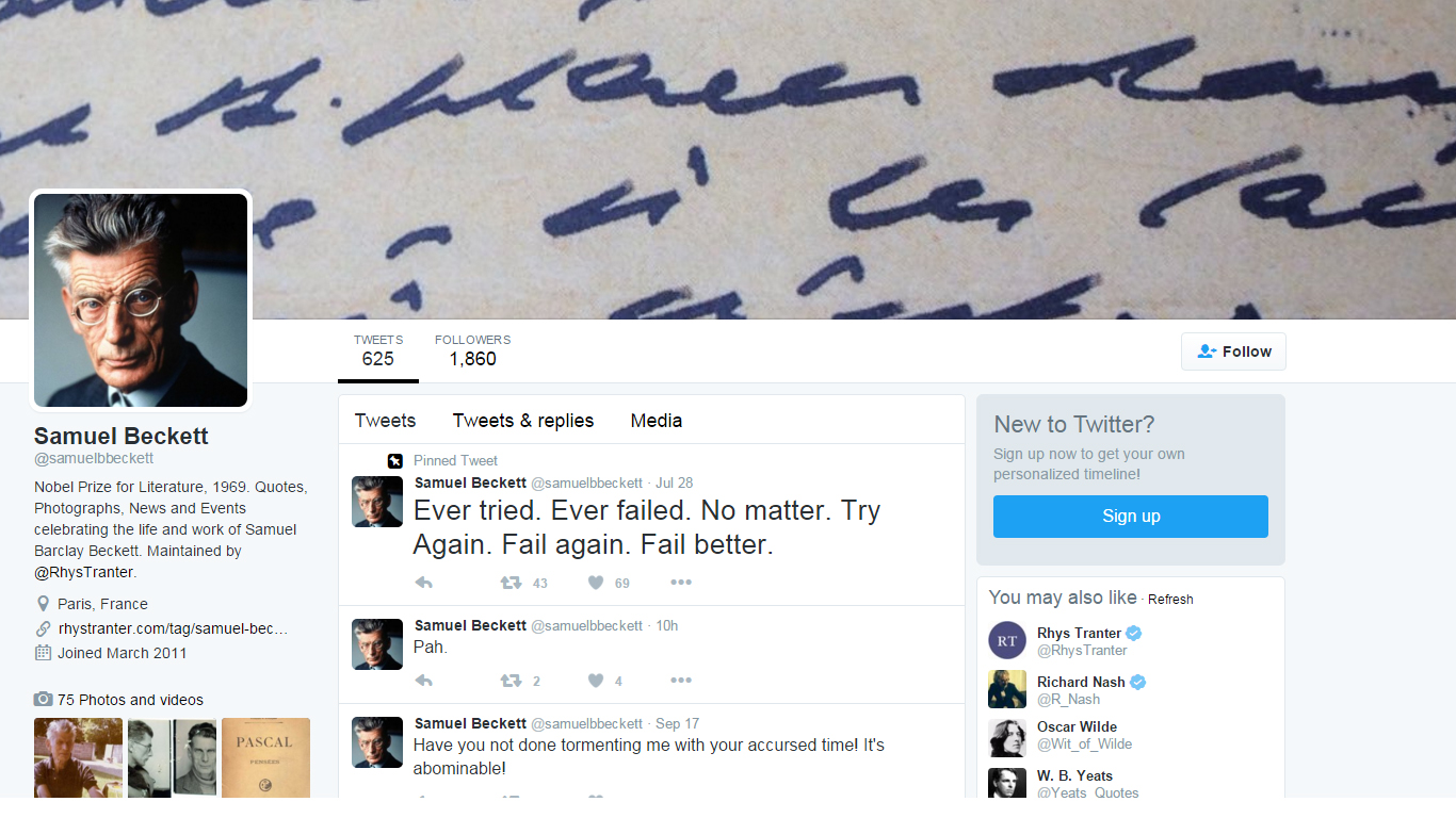 @SamuelBBeckett: Tweets for Everyday Life